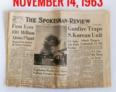 "Old Newspaper From November of 1963 - Spokane, WA Spokesman-Review ""Cold War - President Kennedy Assasination News"""