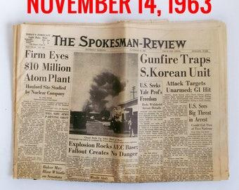 "Old Newspaper From November of 1963 - Spokane, WA Spokesman-Review ""Cold War - President Kennedy Assasination News"""