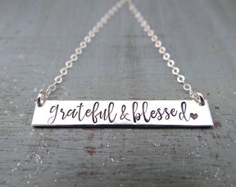 Grateful & Blessed Inspirational Hand Stamped Bar Necklace. Mother's Bar Necklace. Calligraphy Font. Personalized Bar Necklace.
