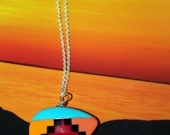 Inlaid Cultured Stone Zuni Bear Necklace