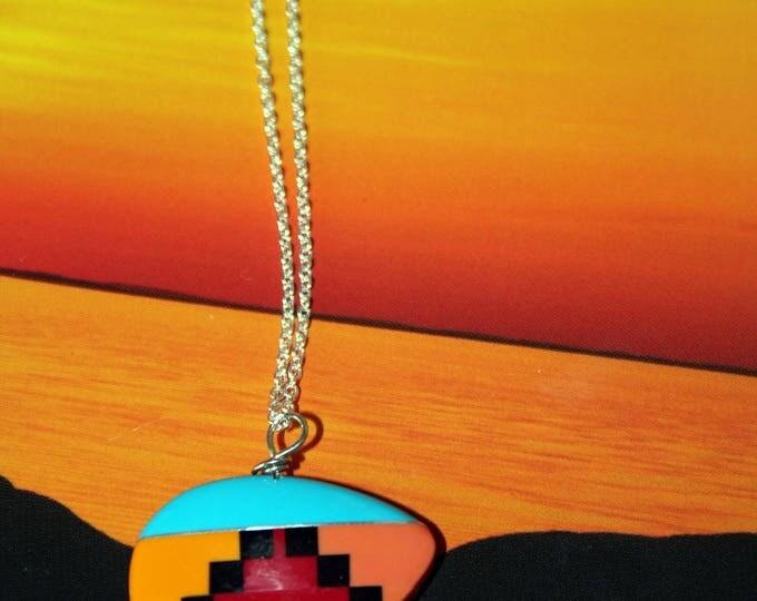 Inlaid Cultured Stone Zuni Bear Necklace