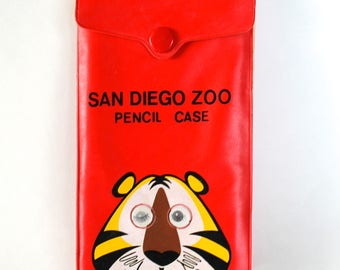 Vintage 1960s San Diego Zoo Red Vinyl Pencil Case with Lenticular Eyed Tiger