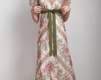 vintage 70s maxi dress paisley prairie floral print pink green doll sleeves ruffled hem empire waist MEDIUM M