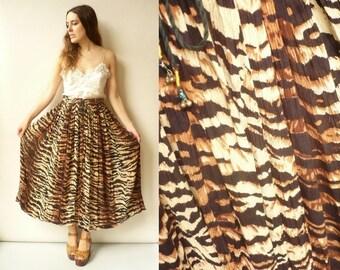 Vintage Animal Print Indian Hippie Rayon Gauze Semi Sheer Gypsy Tie Waist Maxi Skirt