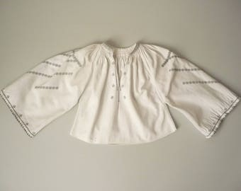 1940's 1950's Vintage Young Girl's Polish Eastern European Hand Embroidered Peasant Folk Top Blouse