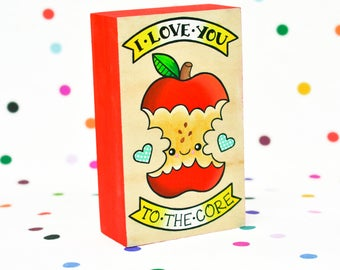 i love you to the core / original painting on cradled wood panel / apple pun kawaii art