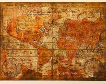 Hand Painted Old World Map. Antique Globe Map Matted 16X20 Painting-Print by Fae Factory Artist Dr Franky Dolan (Wall Art Calligraphy Decor)