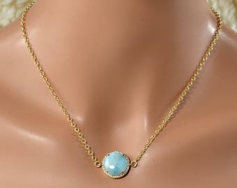 LP 1402 Beautiful Round Larimar Gemstone In  A Gold Plated Bezel With White CZ Necklace