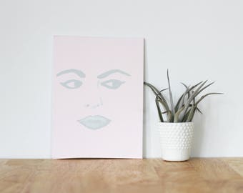 """pink wall art acrylic painting, """"sophia amoruso"""" - are you my bestie, flat 6x8 canvas, gift for friend, best friends, portrait, bridesmaids"""