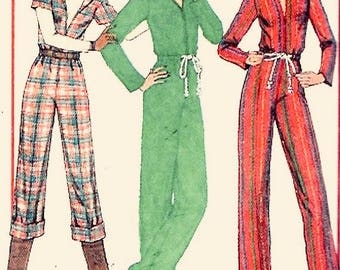 Simplicity 7916 - UNCUT - Size 12 & 14 - Bust 34-36 inches - Belted Zip Front Jumpsuit Long Sleeve or short Sleeve - Vintage Sewing Pattern