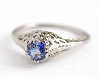 Genuine Sapphire Ring - Vintage 1930s 18k White Gold .68 CT Art Deco Size 6 1/4 - Filigree Solitaire Engagement Blue Gemstone Belais Jewelry