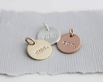 run. stamped disc, sterling silver, 14k gold filled, rose gold filled, runners gift, inspirational gift for her, run. by malisay designs
