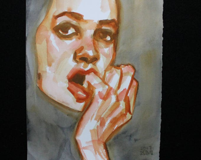She Waited Impatiently for the Next Big Thing, watercolor on Rives BFK 11x14 inches by Kenney Mencher