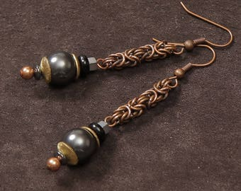 Byzantine earrings: copper chain maille, silver gray Swarovski pearls