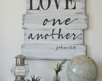 Love One Another Sign, Love Scripture Sign, Bible Verse Sign, Wood Sign
