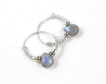 Silver Hoop Earrings, Labradorite Earrings, Sterling Silver Hoops,Small Silver Hoops, Small Hoop Earrings, Sleeper Earrings, Gem Earrings
