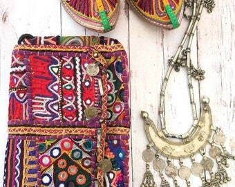 Vintage Handmade Banjara coin clutch shoulder purse,Ethnic Embroidered Fabric Tribal Bohemian hand embellished by Inali Model BP#1