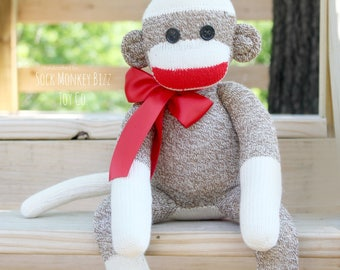 Sock Monkey Doll, Children's Stuffed Plush Toy