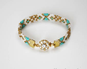 Friendship bracelet -  Gold plated teal Micro macramé Boho rhinestones crystal clasp bangle - geometric ornate pattern design