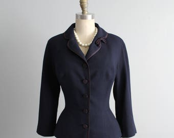 50's Fitted Jacket // Vintage 1950's Navy Blue Wool Fitted Jacket Blazer M L