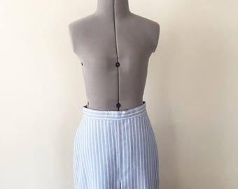 Vintage 90s Blue and White Striped Pencil Skirt, Pleated Skirt, Tailored Skirt, Vintage Skirt, High Waisted Skirt, Size 26