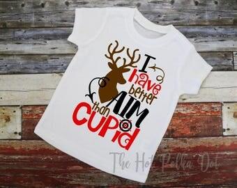 Boys Valentine's Day Shirt Deer Buck Valentine Shirt I Have Better Aim than Cupid Short Sleeve White Tshirt 2T 3T 4T 5T Toddler Boy