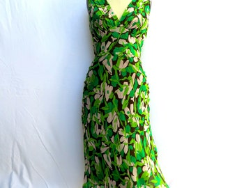 Vintage Diane Von Furstenberg/Green Floral Silk Dress/1930's Style Bias Cut Floral Silk Dress/Silk Bias Cut Sun Dress/Size 6