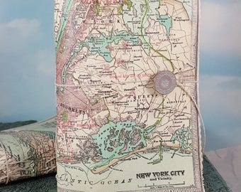 New York City Map Travel Journal with Antique 1911 NYC and Vicinity Detailed Map Cover
