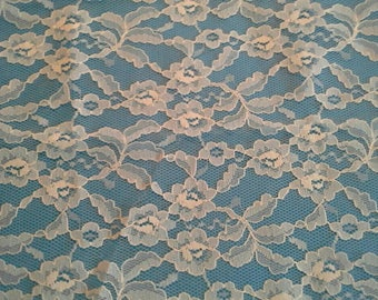 "Floral Ivory Lace Fabric 1 Yard by 46"" Wide X0941"