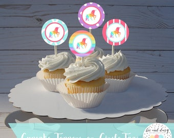 Unicorn Cupcake Toppers INSTANT DOWNLOAD, Unicorn Birthday Party, Unicorn Baby Shower, Unicorn Circle Tags, Unicorn Circle Tags