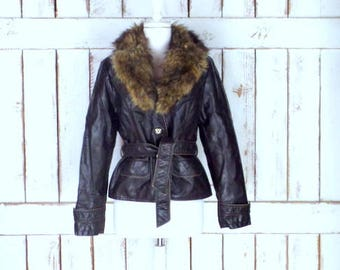 Vintage 90s dark brown faux leather fitted faux fur collar jacket/belted jacket/faux leather coat/petite large