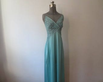 Vintage '60s/'70s Ralph Montenero for Blanche Teal Criss-Cross Lace Nylon Maxi Nightgown, M - 34 Inch Bust