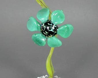 Aqua Bloom Flower Sculpture - Lampwork Botanical Art