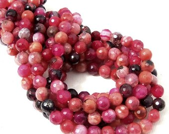 Fired Crackle Agate Beads, 6mm, Pink/Orange/Black, Multicolored, Round, Faceted, 6mm, Small, Gemstone Beads, 15 Inch Strand - ID 2245