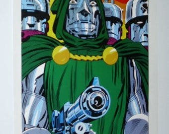 Rare vintage original 1970's Marvel Comics Fantastic Four super-villain Dr Doom poster pin-up 1 with art by Jack Kirby: 1970's Marvelmania