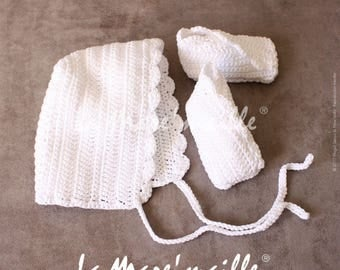 All booties and hat bonnet baby crocheted white cotton the Mare' mesh