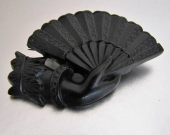 "Victorian Vulcanite Mourning Brooch. Antique Hand & Fan  ""Wait For Me"" Pin. British Registration Mark 1881. English Memento Mori Jewelry."