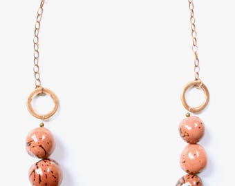 PInk Brown beaded necklace, Tagua Nut necklace, Copper necklace