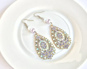 Purple iridescent statement earrings