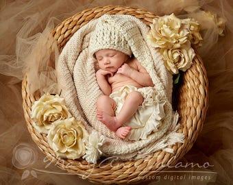 Newborn Baby Stocking Hat,  Baby Longtale Hat, Cream Stocking Hat, Photo Props, Holiday, Cream Tassel, Children, Kids, Handmade, Baby Hat