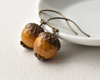 Earrings - Acorn Earrings - Gemstone Earrings - Woodland Jewellery - Mookite Earrings - Autumn Jewellery - Jasper Jewellery-