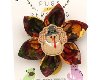 Thanksgiving Dog Bow - Pilgrim Turkey on Autumn Leaves - Flower - Collar Blossom - Large Size