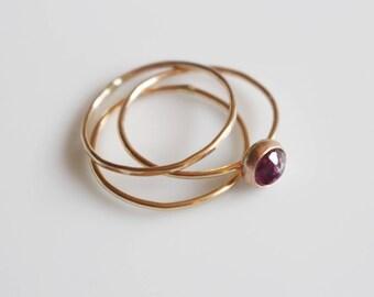 Gold Gemstone Rings Women / Tourmaline Ring / Gold Filled Stacking Ring Set / Stacking Ring Set in Gold / Rubellite Tourmaline Dainty Ring
