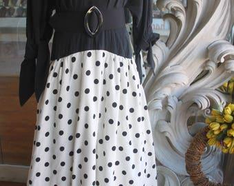 Vintage 1980s does 1950s Fernando Pena Maxi Dress Black & White Polka Dot