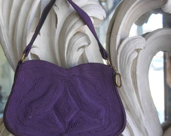 Vintage 1940s - 1950s Purple Corde Handbag / Purse