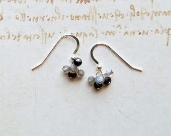Tiny Grey Gemstone Cluster, Minimalist Labradorite Earrings, Small Black Grey Cluster
