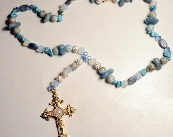 Blue Aventurine with Turquoise Cross Necklace