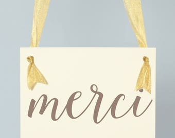 Wedding Banner Merci | French Thank You Handcrafted Wedding Signage 1328 BW