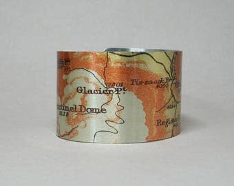 Yosemite National Park Cuff Bracelet Map Sentinel Dome Glacier Point Mist Trail Unique Hiking Gift for Men or Women