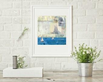 "Sailing Print, Sailing Photography, Mixed Media Photography, Long Island Art, Sailboat Print, 8""x10"" or 11""x14"" Print ""Sailing the Sound II"""